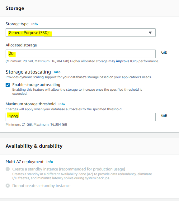Defining RDS instance storage options You can find more information about storage options here.